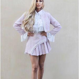 3 piece Pink Tweed Skirt Set